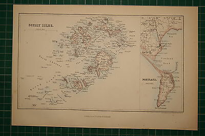 1870 Antique Map ~ Scilly Isles St Mary's St Martins ~ Portland Wyemouth Bay