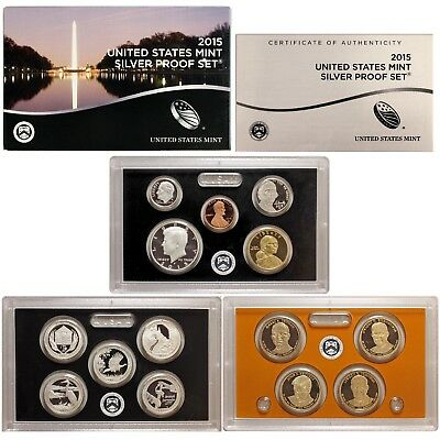 2015 S Proof Set Original Box & COA 14 Coins 90% Silver Quarters Kennedy Dime