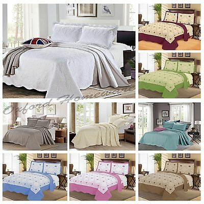 Floral Vintage Embroidered Quilted Poly Cotton Bedspread Throws + 2 Pillow Shams