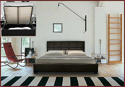 Storage Ottoman Gas Lift Double Or King Size Leather Beds + Memory Foam Mattress