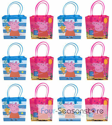 New 12pc Peppa Pig Goodies bag Favor Birthday Party Loot Gift Bags