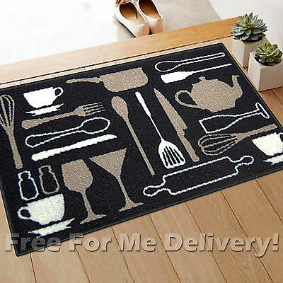 NYLON KITCHEN DESIGN BLACK NON-SLIP WASHABLE MAT (XXS) 50x75cm **FREE DELIVERY*