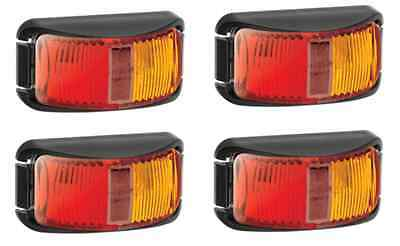 4x Narva 91602 LED Red/Amber Side Markers with Clear Lens Truck Trailer Lights
