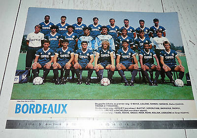 Clipping Poster Football 1987-1988 Girondins Bordeaux Parc-Lescure