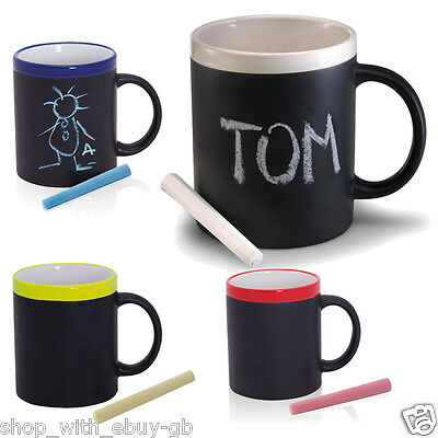 Chalk Memo Mug Personalised Novelty Blackboard Style Kitchen Notes Coffee Cup