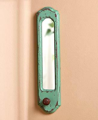 Vintage Wall Teal Hook Mirror Attractive Touch To Decor, Hang Mitts, Coats