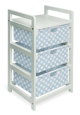 White Finish Three Bin Hamper/Storage Unit - Blue Polka Dots