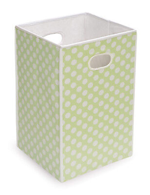 Folding Hamper/Storage Bin - Sage with White Polka Dots