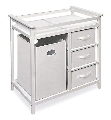White Modern Changing Table with 3 Baskets and Hamper
