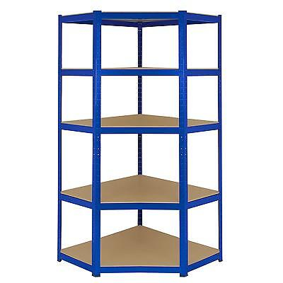 Heavy Duty Metal Corner Racking Garage Shelving 5 Tier Racks Bays Blue Steel
