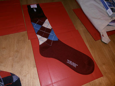 McRitche of Edinburgh Maroon  Argyle  Pattern Sock 10""