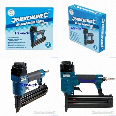 New Silverline AIR BRAD NAILER Nail Gun Fires 18 Gauge Brad Nails 10-50mm DIY ✔
