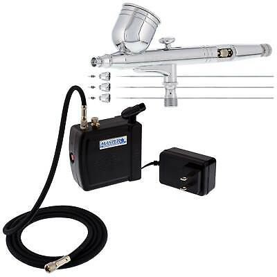 Master 3 Tip G233 PRO AIRBRUSH SET with COMPRESSOR KIT Gravity Dual-Action Hobby