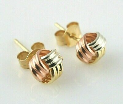 New 9ct Gold Multi-Tone Gold Knot Stud Earrings