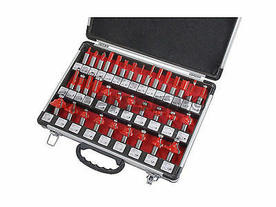 "35 Piece TCT tipped Router bit set in aluminium case - 1/2"" Shank"