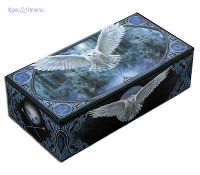 "Anne Stokes Trinket Jewellery Box with Mirror: ""Awaken Your Magic"" Wicca Owl"