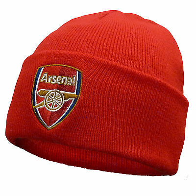 Arsenal FC Official Football Gift Knitted Bronx Beanie Hat Crest Red
