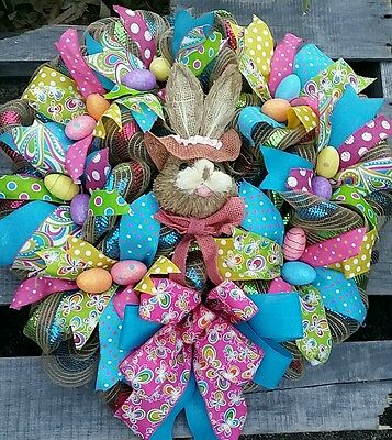 24x28 It's All About Easter Deco Mesh and Multi Textured Ribbon Wreath
