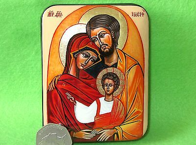 Russian Unique HAND PAINTED Lacquer Box HOLY FAMILY Virgin Mary Joseph Jesus