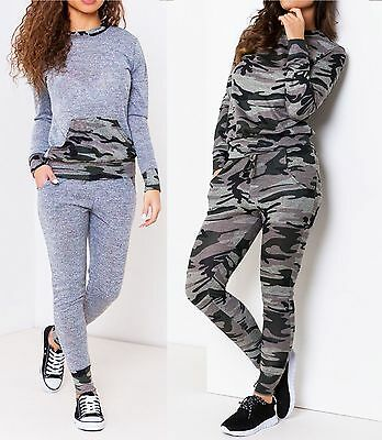 Women's Ladies Camouflage Contrast Long Sleeve Army Set Jogger Full Tracksuit