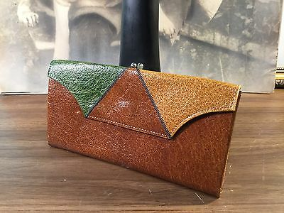 Vintage 1970s Princess Gardner Wallet Case Retro Colors Buffalo Leather