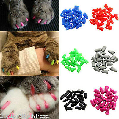 20pcs New Pet Cat Nail Covers Claw Paws Caps Soft Gel Protector