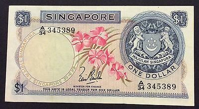1967 $1 Singapore Banknote -circulated condition - A/34 345389