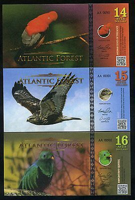 SET Atlantic Forest 14;15;16 Aves Dollars 2016 - 3 Note Bird Set