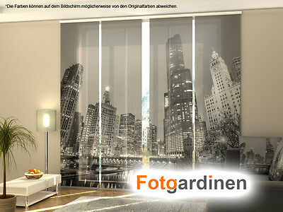 fotogardinen grey city fl chenvorhang schiebegardinen. Black Bedroom Furniture Sets. Home Design Ideas