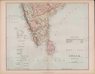 Hand coloured Map INDIA, Southern Part c.1870 William Mackenzie    BD48