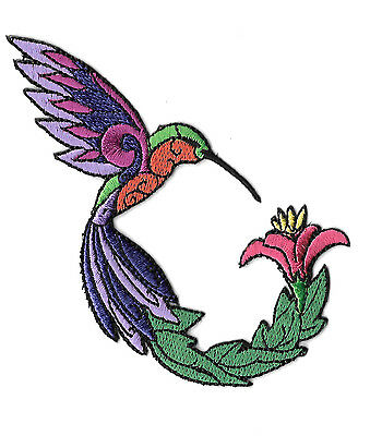 Hummingbird - Bird - Garden - Colorful Embroidered Iron On Applique Patch