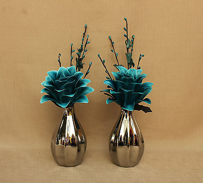 Artificial (Set Of 2) Silk Teal Dragon Flowers In Silver Pumpkin Vases