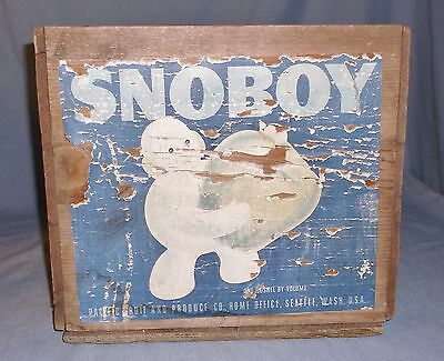 Vintage Snoboy Pacific Fruit and Produce Wood Crate Box Seattle Paper Label