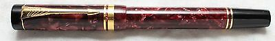 Parker Duofold Maroon Marble & Gold Rollerball Pen New In Box Made In Uk