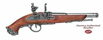 Authentic 1700's Grey Finish Pirate Flintlock Pistol Pirate Skull Non-Firing Gun