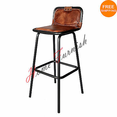Vintage Style Industrial Bar Counter Stool Leather Seat Restaurant Bar Stools
