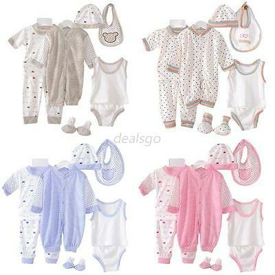 8Pcs Newborn Infant Kids Baby Boy Girl T-shirt Tops+Pants Outfit Clothes Set