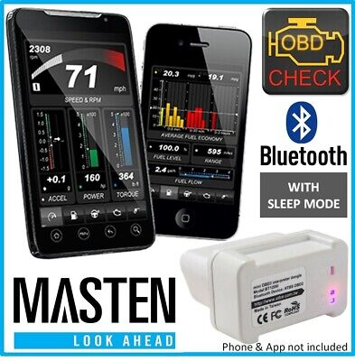 .Masten OBD2 Diagnostic Bluetooth Car ELM327 Tool for Android iPhone Apple