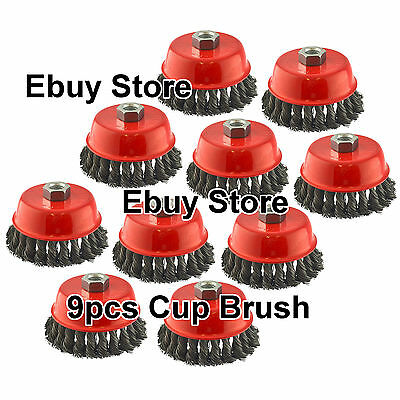 """9pc  a lot - 4"""" TWIST CUP BRUSH TWIST 9 CUP BRUSH WIRE WHEEL ANGLE GRINDER"""