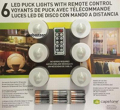 New Capstone Lightmates LED Wireless Puck Lights with Remote & Batteries- 6 Pack