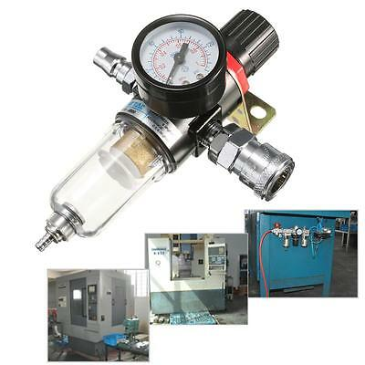 1/4'' Air Compressor Filter Water Separator Trap Tools Kit With Regulator Gauge