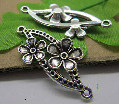 10/30pcs Nice Antique silver/bronze Lovely Filigree flowers Charms connection