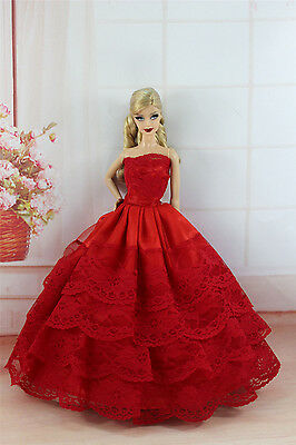 Red Fashion Princess Party Dress/Evening Clothes/Gown For Barbie Doll S333