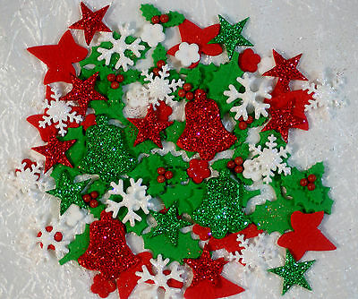 Christmas Edible Cake Decorations X 50 Mixed Pieces - *red & Green Giltter Set*