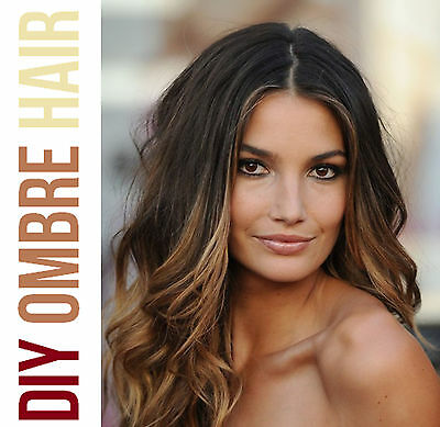 """20"""" Clip In Ombre Dip Dye Remy 100% Human Hair Extensions Diy"""