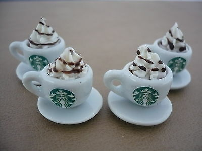 Set of 4 Cups of Cappuccino Starbucks Dollhouse Miniatures Food Supply Deco