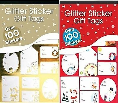 100 Christmas Sticker Peel Stick Gift Tags Label Xmas Party Present Tie Wrapping