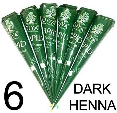 FRESH!! 6  ORGANIC Brown Henna Mehendi Cones Temporary Tattoo TOP QUALITY HERBAL