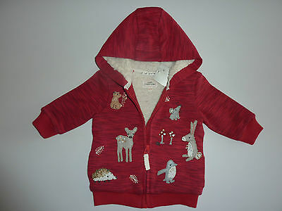 NEXT Gorgeous Red Fleece Lined Red WOODLAND Hoodie  NWT