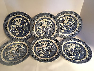 Vintage Blue Willow 6 Dinner Plates Churchill Staffordshire England 10 1/2""